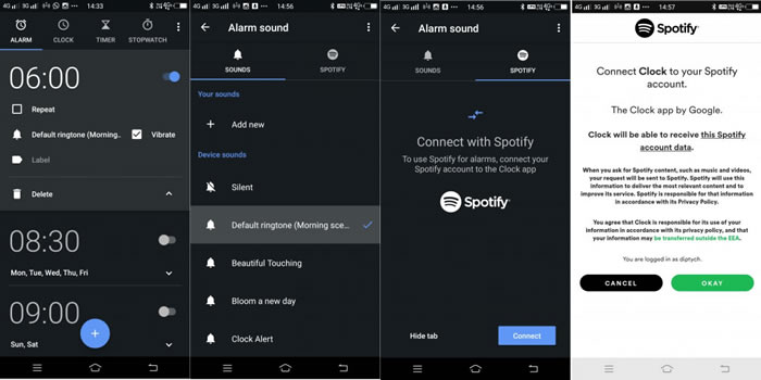 use google clock to set spotify alarm step 1
